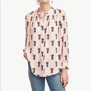 Women's Ann taylor pineapple button shirt sz L C4